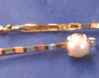 Vintage Gold Tone Bobby Pins with Faux Pearls, 1950s (Qty 2)