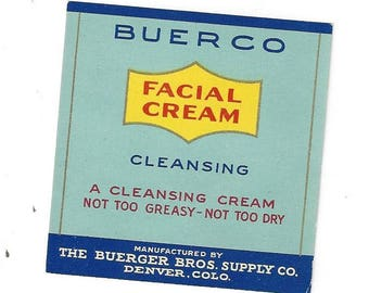 Vintage Buerger Bros. Supply Co. Buerco Facial Cream Cosmetic Label, 1920s