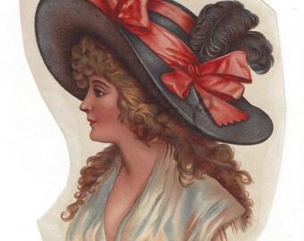 Vintage Monreau Victorian Woman Decal, 1970s