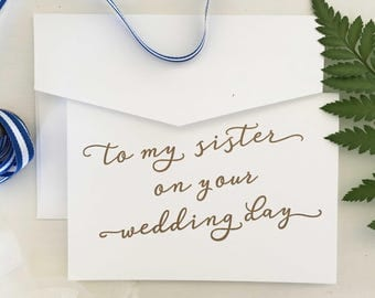 To My Sister On Your Wedding Day, Gift For Bride, Wedding Gift, To My Sister On Her Wedding Day, Sister Gift, Gifts For Sister, Wedding Card