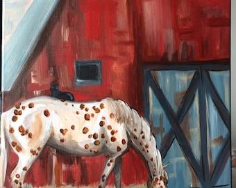 Old red barn appaloosa sleeping cat rural pastoral western art