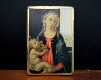 Vintage Madonna Virgin Mary / Religious Icon / Madonna and Child / Madonna Wall Plaque / Virgin Mary Icon