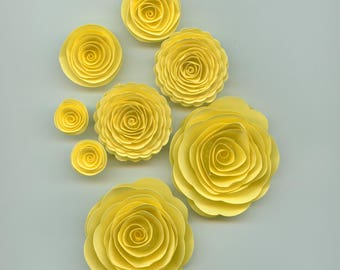 Light Yellow Handmade Spiral Paper Flowers
