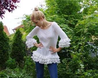 Women tops Sweaters & Cardigans handmade Hand knit Sweater... L / XL White 100% coton