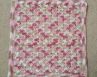 Rose Slanted Shells Crocheted Security Blanket - Ready to Ship