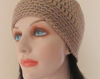 Taupe Crochet Hat, Taupe Winter Beanie, Cold Weather Accessory, Neutral Hat, Ice Skating, Snow Playing, Unisex Beanie, Beige Snow Hat