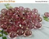 SUMMER SALE Czech Glass Beads Luster Transparent Topaz Pink Donut 11x7mm- 25 beads