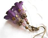 purple filigree earrings flower earrings purple earrings blue flower earrings floral earrings purple floral earrings lucite flower