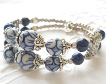 memory wire bracelet delft blue jewelry delft blue bracelet double strand bracelet blue and white