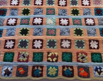 Vintage Hand Crochet Granny Square Afghan Blanket