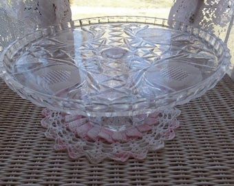Vintage Cut Glass Floral Pineapple Stem Plate Pedestal Dessert Cupcake Cookie Pie Cake Stand