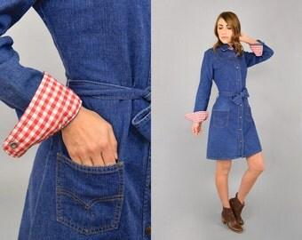 70's LEVI'S Denim Belted Dress