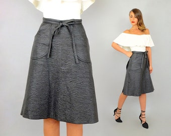 80's Vegan Faux Leather Wrap Skirt