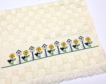 Cross Stitch Towel, Sunflowers, Black Birds, Bird House, Finished Cross Stitch