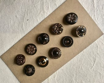10 Black and Gold Czech Glass Buttons in Assorted Designs for Sewing and Crafts