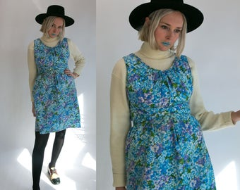 Vintage 60's Day Dress by Lazy U Retro Flower Print Cotton Lightweight Spring Summer Size Medium Large Retro/Boho/Hippie