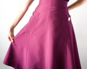 Season sale SALE 40s style midi skirt with large pockets, A-line in purple, size US 10 / Swing skirt / Lindy hop skirt /
