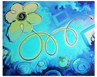 Série Fleur II  -- Vert et Bleu