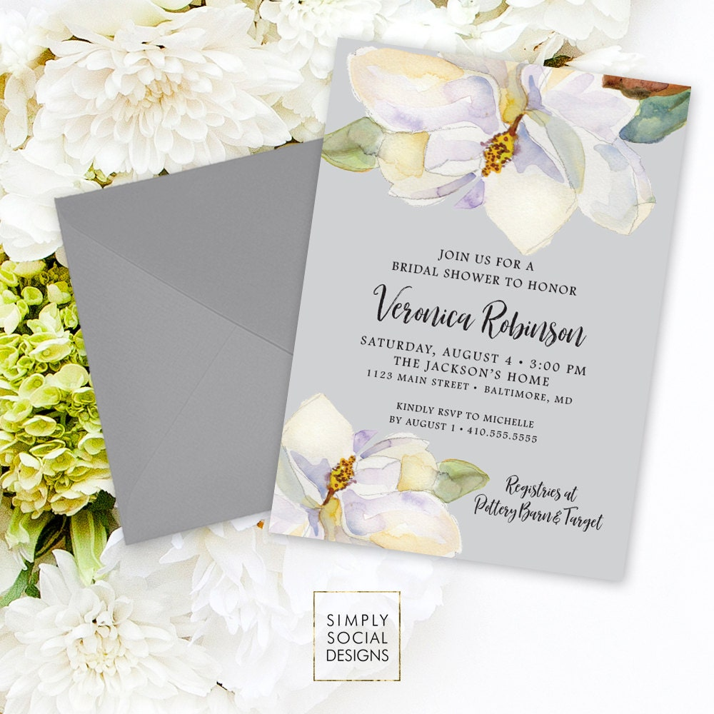 Magnolia Shower Invitation Bridal Shower Baby Shower White Flowers ...