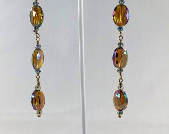Hard Candy Magic Finish Amber Crystal Bead Earrings Basically Beautiful Dancing Queen Long Dangling With Bronze Hook and Swarovski