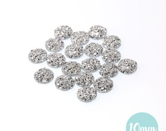 10mm Metallic Silver Faux Druzy Crystal Clusters Cabochons sfc0121
