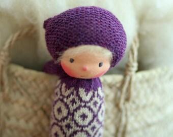 "Reserved for Ljuba-Waldorf doll, Knitted doll Lori 13"", Fair Isle knitting,  rag doll, OOAK, handmade doll by Peperuda dolls, soft doll"