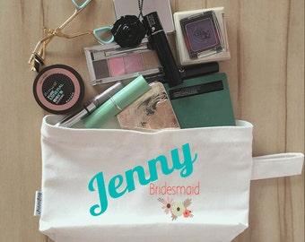 Bridal Party Makeup Bag, Canvas, Bridesmaid Makeup Pouch, Wristlet, Customize for FREE