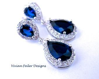 Sapphire Blue Earrings, Bridal Earrings Tear Drop Vintage Style Luxury Cubic Zirconia Fancy Pageant Earrings Wedding Jewelry