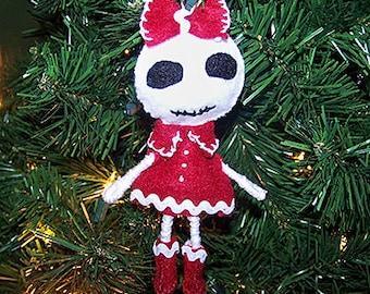 Skeleton Girl bendy felt Christmas ornament, tree ornament, skull ornament - Clearance