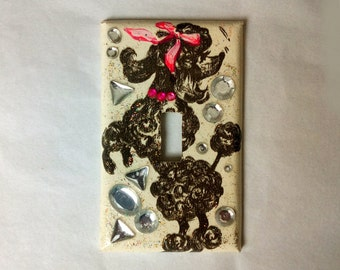 Upcycled Vintage Wallpaper Switch Plate Black Poodle Switchplate Pink Rhinestone Collar (026)