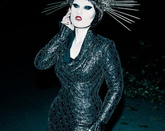 Gothic long sequin dress black dragon scales witchy avant garde gown size small to XL