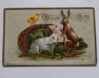 Antique Easter postcard Easter bunny Easter rabbit Easter chick and Easter basket full of lettuce and carrots vintage ephemera