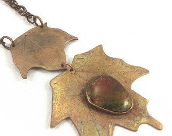 ON SALE Double maple leaf copper pendant with red, green and yellow ammolite gemstone precious metal clay copper