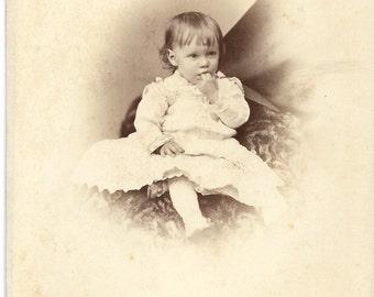 Antique Cabinet Photograph Adorable little girl Delicious Fingers