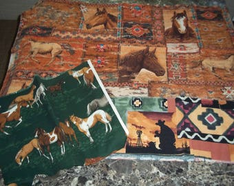 Cowboy and horse fabric Lot #3