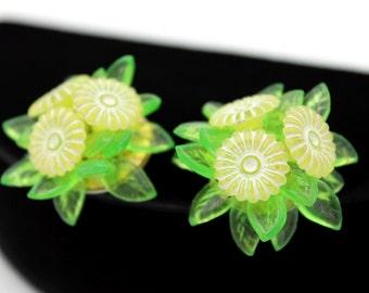 Lemon Lime Flower Earrings, Marked HONG KONG