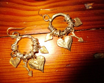 All Heart: Spectacular HOOPS! Artisan Gold/Bronze Pierced Earrings w/5 Thick LATTICE Spacers & 4 Heart and Arrow Dangling Charms - OOAK