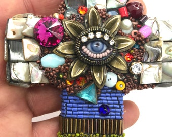 Beaded Cross with Eye by Betsy Youngquist