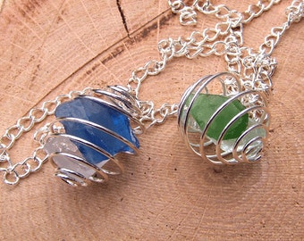 Sea Glass Necklace Wire Cage Pendant Beach Glass Jewelry Walk on the Beach Seaglass Pendant Mermaid Jewelry