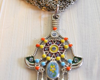 Necklace Vintage with Hamsa Hand     Festival Jewelry Boho Chic  Protection
