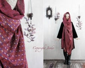 Hooded Scarf, Red Scarf, Hoodie Scarf, Art To Wear shawl, unique gift for her, Infinity Scarf, Oversized Scarf, Gypsy Clothing, Gypsy Shawl