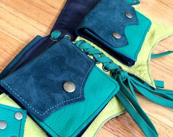 Ready to Ship Small BAT Pocket Belt Burning Man Utility Yoga Festival Steampunk Costume cosplay leather goth green suede