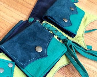 Ready to Ship Small BAT Pocket Belt Burning Man Utility Yoga Festival Steampunk Costume cosplay leather goth green suede