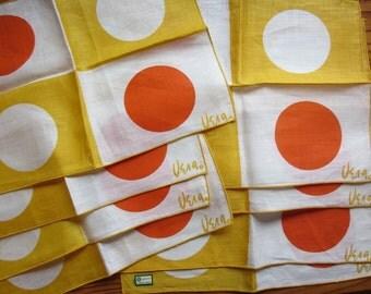 Vera Neumann set of 8 cocktail napkins, midcentury. Original sticker - excellent condition. Orange and yellow geometric graphic.