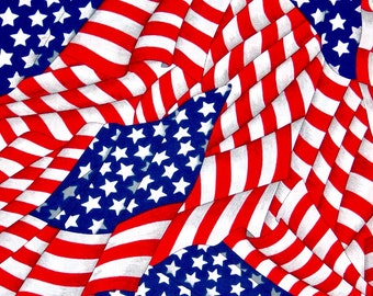 USA Flag fabric, American fabric, Patriotic USA fabric 100% cotton for Quilting and general sewing projects.
