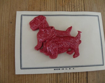 2 - Vintage Terrier and Scottie dog pins on cards , new old stockart