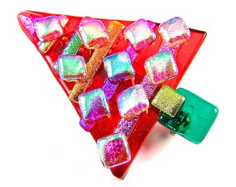 """Christmas Tree Brooch Pin - Red Blue Green Purple Pink Cobalt Teal Violet Gold Orange Dichro Recycled Dichroic Shards Fused Glass - 2"""""""