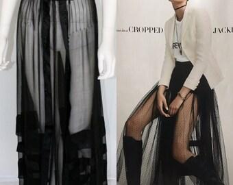Vintage Edwardian Black Sheer Skirt - Steampunk