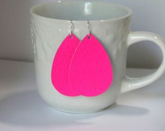 Neon Pink Leather Teardrop Drop Earrings