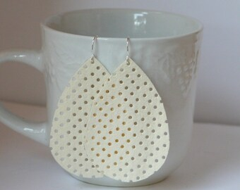 Cream White Suede Cut Out Cutout Perforated Leather Teardrop Drop Earrings